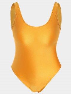 Plus Size Shiny One Piece Swimsuit - Citrus 2xl