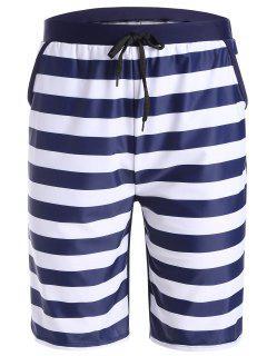 Striped Swim Trunks - Purplish Blue M