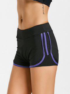 Stripe Trim Sports Shorts - Purple M