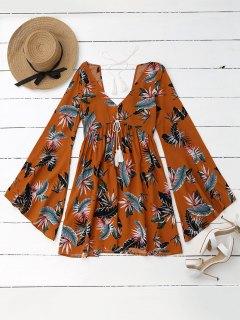 Vestido Floral Tropical Con Mangas De Cintura - Amarillo M