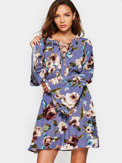 Floral Long Sleeve Lace Up Dress - Purple L