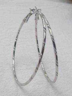 Bamboo Hoop Earrings - Silver