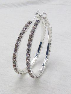 Rhinestone Big Hoop Earrings - Silver