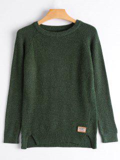 Badge Patched Slit Sweater - Blackish Green