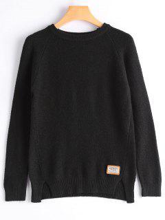 Badge Patched Slit Sweater - Black