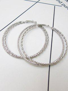 Hemp Flower Big Hoop Earrings - Silver