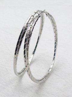 Metal Alloy Circle Hipa Hoop Earrings - Silver