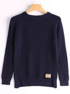 Suéter De Corte Recortado De Insignia - Azul Purpúreo