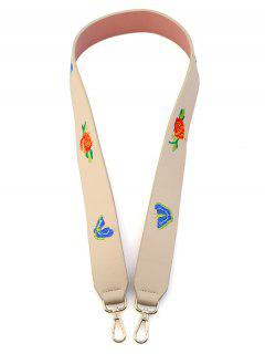 Butterfly Flower Embroidery Bag Shoulder Strap - Off-white