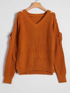 Pullover Mit Seitlichem Schlitz , Schnürsenkel Und V Ausschnitt - Heller Kaffee