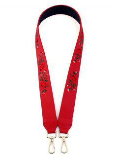 Embroidery Flower Shoulder Strap Bag Accessory - Red