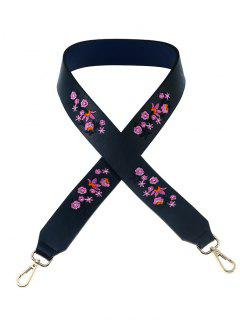 Tiny Floral Embroidery Bag Strap - Purplish Blue