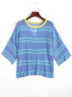 Tricot Encolure Fendue Ajouré à Rayures - Bleu