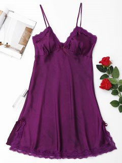 Laced Satin Slip Babydoll - Purple L