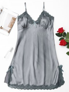 Laced Satin Slip Babydoll - Smoky Gray M