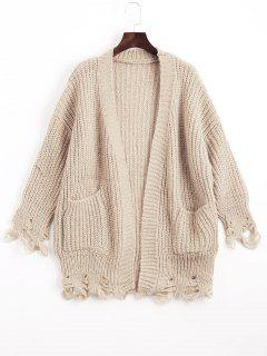 Open Front Ripped Cardigan With Pockets - Light Khaki