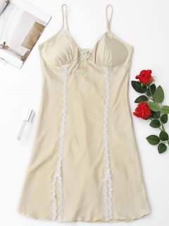 Padded Laced Satin Babydoll - Light Beige M