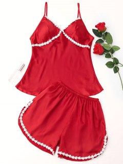 Laced Satin Pajama Set - Red L