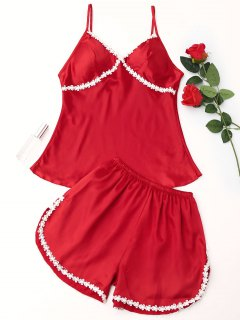 Schnürung Atlas Pyjama Set - Rot M