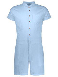 Short Sleeve Single Breasted Romper - Light Blue 2xl