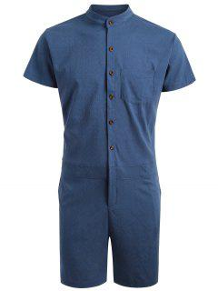 Short Sleeve Single Breasted Romper - Deep Blue 2xl