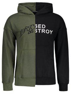 Graphic Color Block Hoodie - Black And Green M