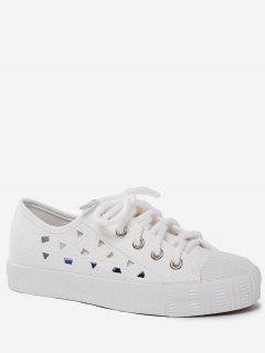 Canvas Breathabe Hollow Out Athletic Shoes - White 40