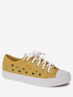 Canvas Breathabe Hollow Out Athletic Shoes - Yellow 40