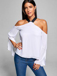 Slit Sleeve Cold Shoulder Blouse - White Xl
