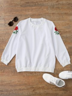Casual Floral Embroidered Pullover Sweatshirt - White M