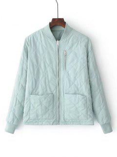 Zip Up Padded Jacket With Pockets - Light Green M