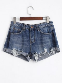 Ripped Cutoffs Denim Shorts - Denim Blue Xl