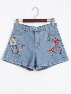 Floral Embroidered High Waisted Jean Shorts - Denim Blue 38