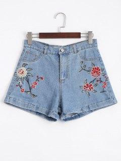 Pantalones Cortos Bordados Floral De Jean Alto De La Cintura - Denim Blue 34