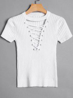 Ribbed Knit Lace Up Top - White M