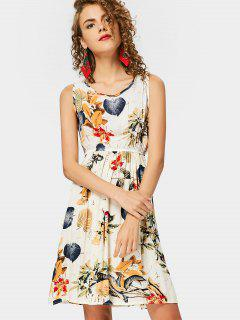 Leaves Imprimir Sin Mangas A Line Dress - Multi 2xl