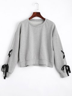 Loose Casual Lace Up Sweatshirt - Gray L