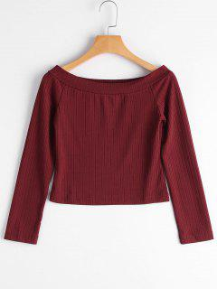 Ribbed Off Shoulder Crop Tee - Wine Red L