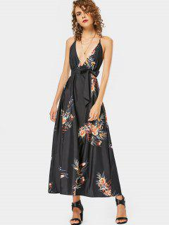 Floral Print Open Back Cami Belted Dress - Floral M