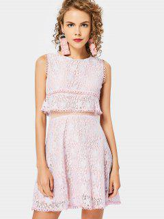 Mesh Panel Tiered Flare Lace Dress - Pink M