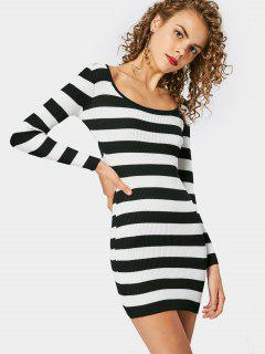 Long Sleeve Ribbed Knitted Dress - Stripe