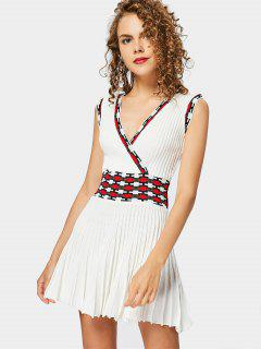 Sleeveless Graphic Knitted Dress - Off-white
