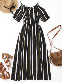 Robe Longue Rayée Décontractée à épaules Nues - Texture De Bande L