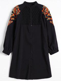 Floral Embroidered Lace Panel Shirt Dress - Black L