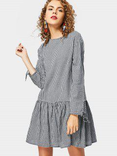 Back Button Embellished Long Sleeve Checked Dress - Checked M