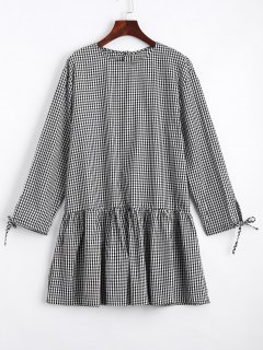 Checked Flounces Casual Shift Dress - Black S