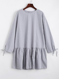 Checked Flounces Casual Shift Dress - Gray S