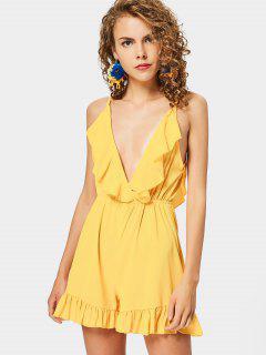 Ruffle Hem Cami Romper - Yellow M