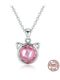 Acrylic Rhinestone Cat Head Charm Necklace - Pink