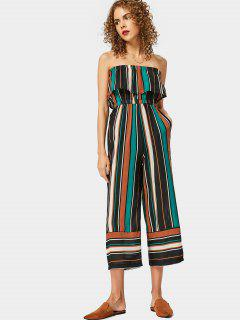 Strapless Flounce Hem Striped Jumpsuit - Green